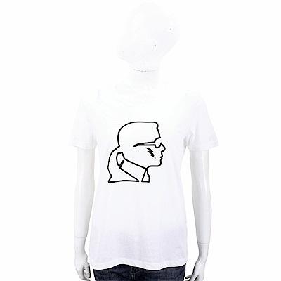 Karl Lagerfeld Lightning 白色老佛爺黑側臉肖像短袖T恤