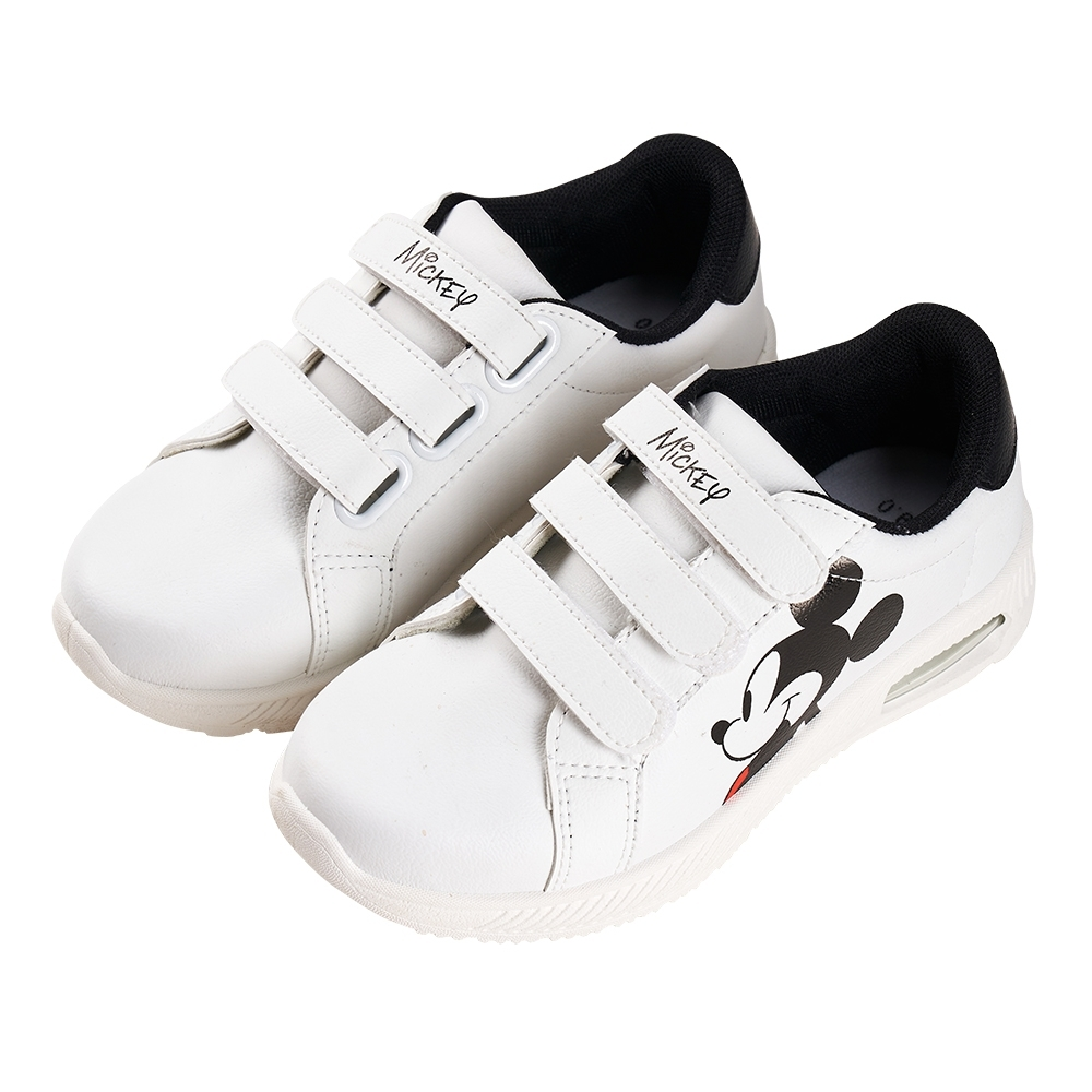 迪士尼童鞋 米奇 魔鬼氈休閒板鞋-白(柏睿鞋業)