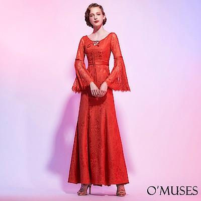 V領蕾絲刺繡長禮服-OMUSES