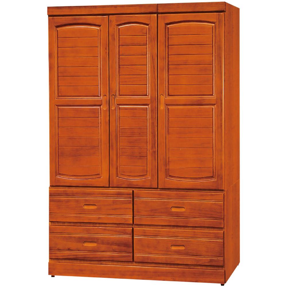 綠活居 妮絲4尺實木三門五抽衣櫃/收納櫃(二色)-120x54x180cm免組