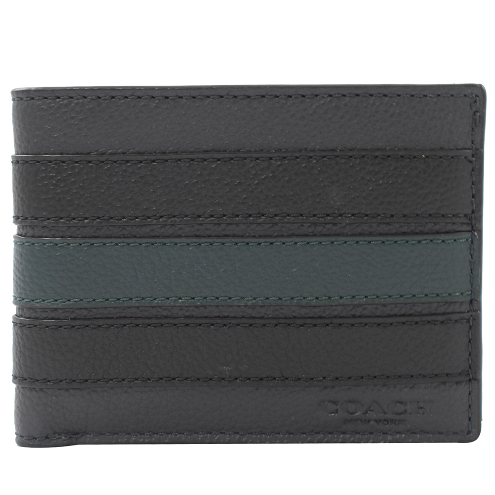 COACH 烙印LOGO彩色條紋牛皮對開短夾(6卡/深藍)