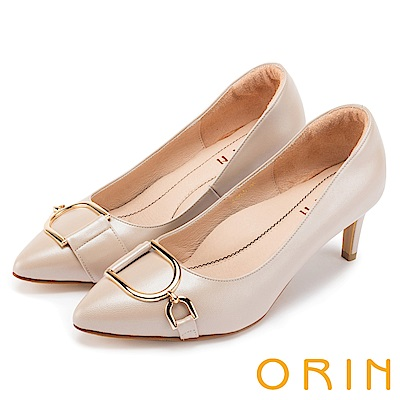 ORIN 時尚名媛 雙D金屬羊皮尖頭高跟鞋-粉裸