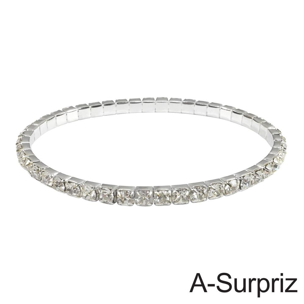 A-Surpriz 耀眼單排晶鑽彈性手環(銀)