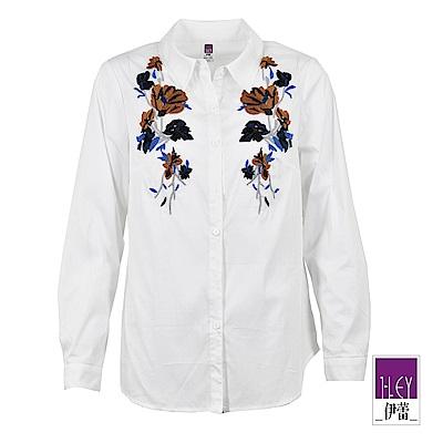 ILEY伊蕾 花朵貼布繡棉質襯衫上衣(白)