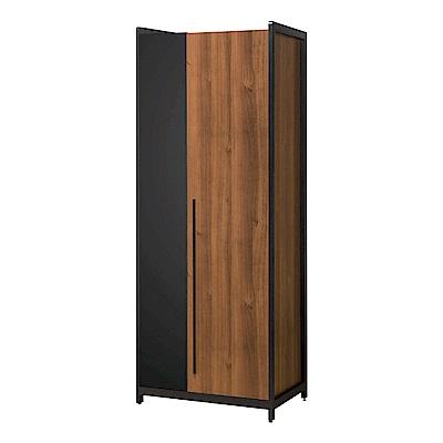 文創集 普艾爾 2.7尺開門雙吊衣櫃(雙吊衣桿+內開放層格)-82x60x202cm免組