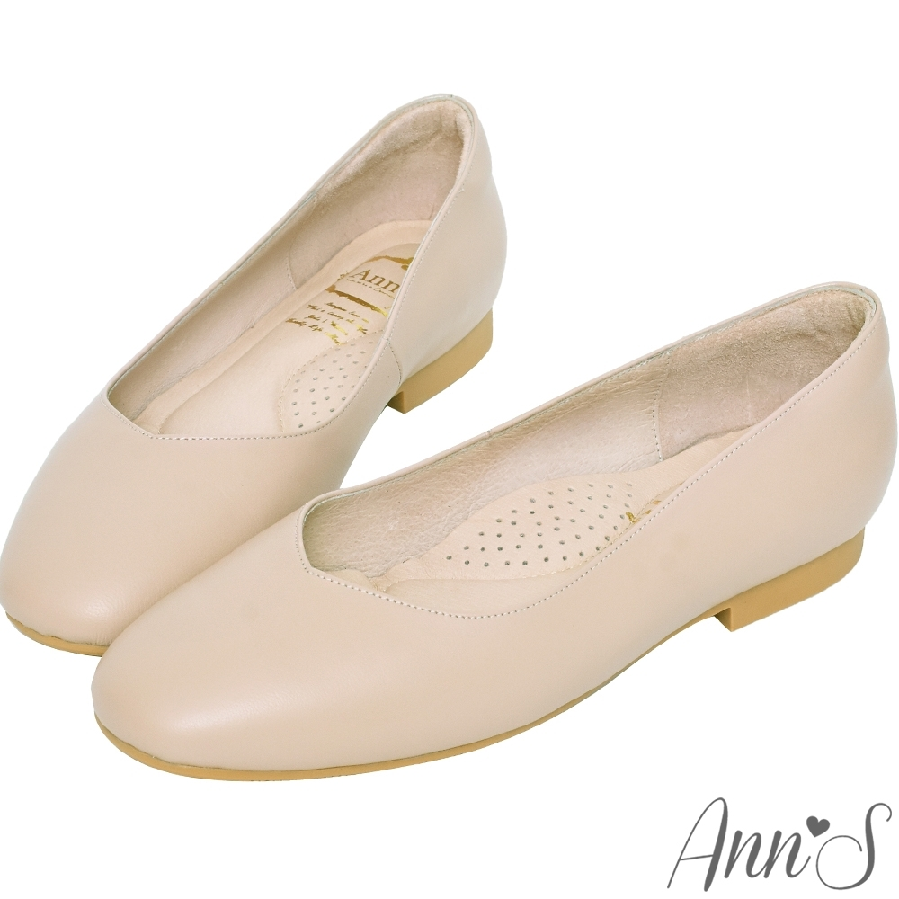 Ann'S奶奶鞋-V型小羊皮真皮方頭平底鞋-杏