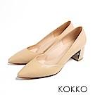 KOKKO - 遠方的凝望鏡面粗跟素面高跟鞋-奶茶色