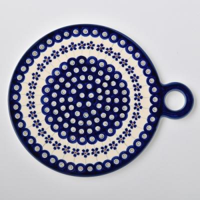 波蘭陶 藏青小卉系列 圓形呈菜盤 22.8x27.5 cm 波蘭手工製