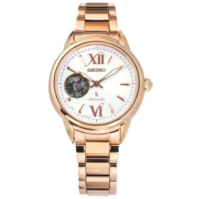 SEIKO 精工 LUKIA 機械錶 藍寶石水晶玻璃 不鏽鋼手錶-白x鍍玫瑰金/34mm