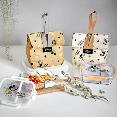 [買1組送1組] 經典米奇 全分隔耐熱玻璃保鮮盒提袋組950ml(買奶茶色送牛奶色)(快)