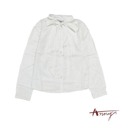 Anny貴族氣質蝴蝶結綁帶領亮絲長袖襯衫*9245米白