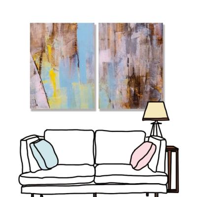 【24mama 掛畫】二聯式 藝術 抽象 無框畫 30x40cm(彩色油畫01)