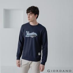 GIORDANO 男裝 Retro Wave復古大學T恤-42 標誌海軍藍