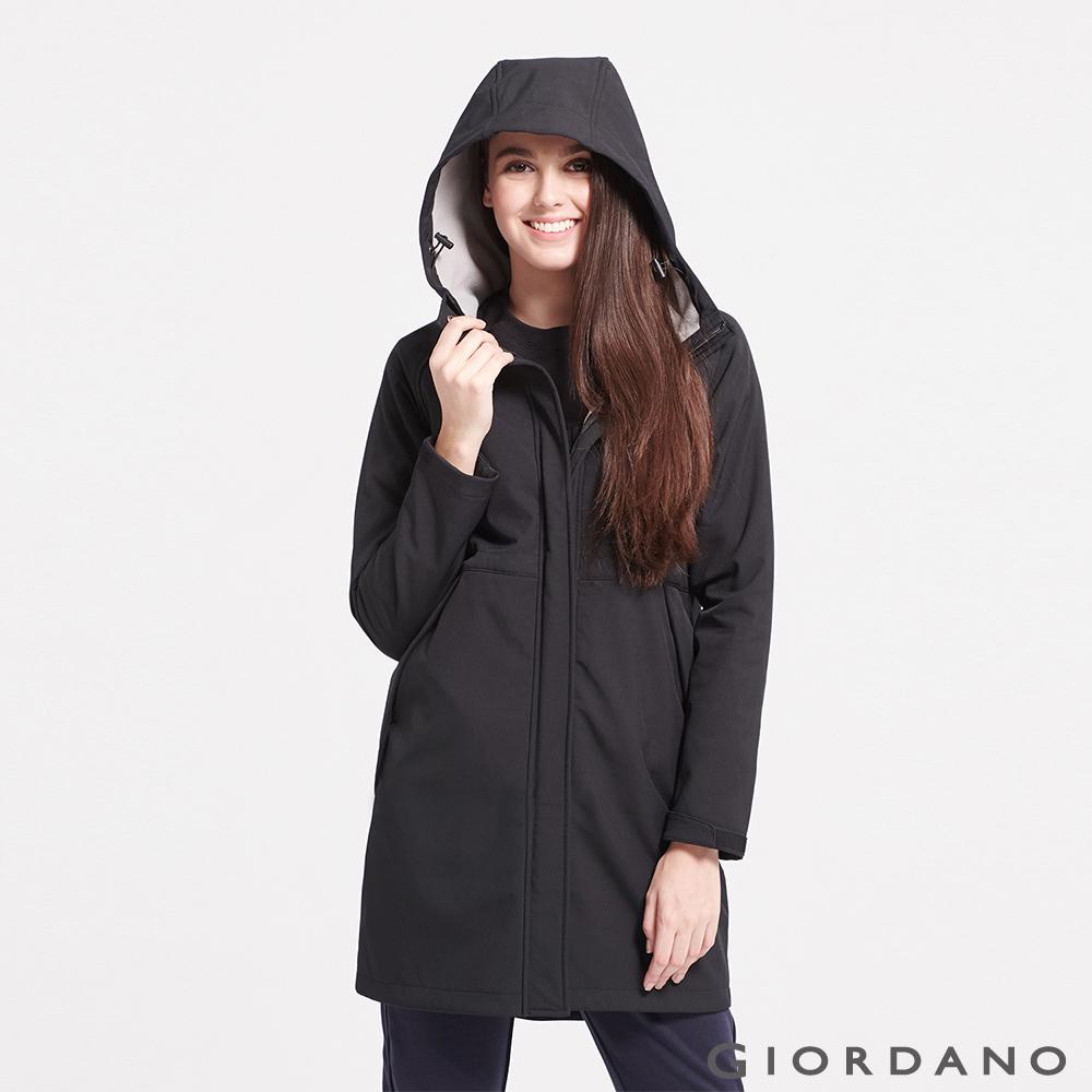 GIORDANO 女裝內植絨保暖防風下擺開岔長版外套-08 標誌黑
