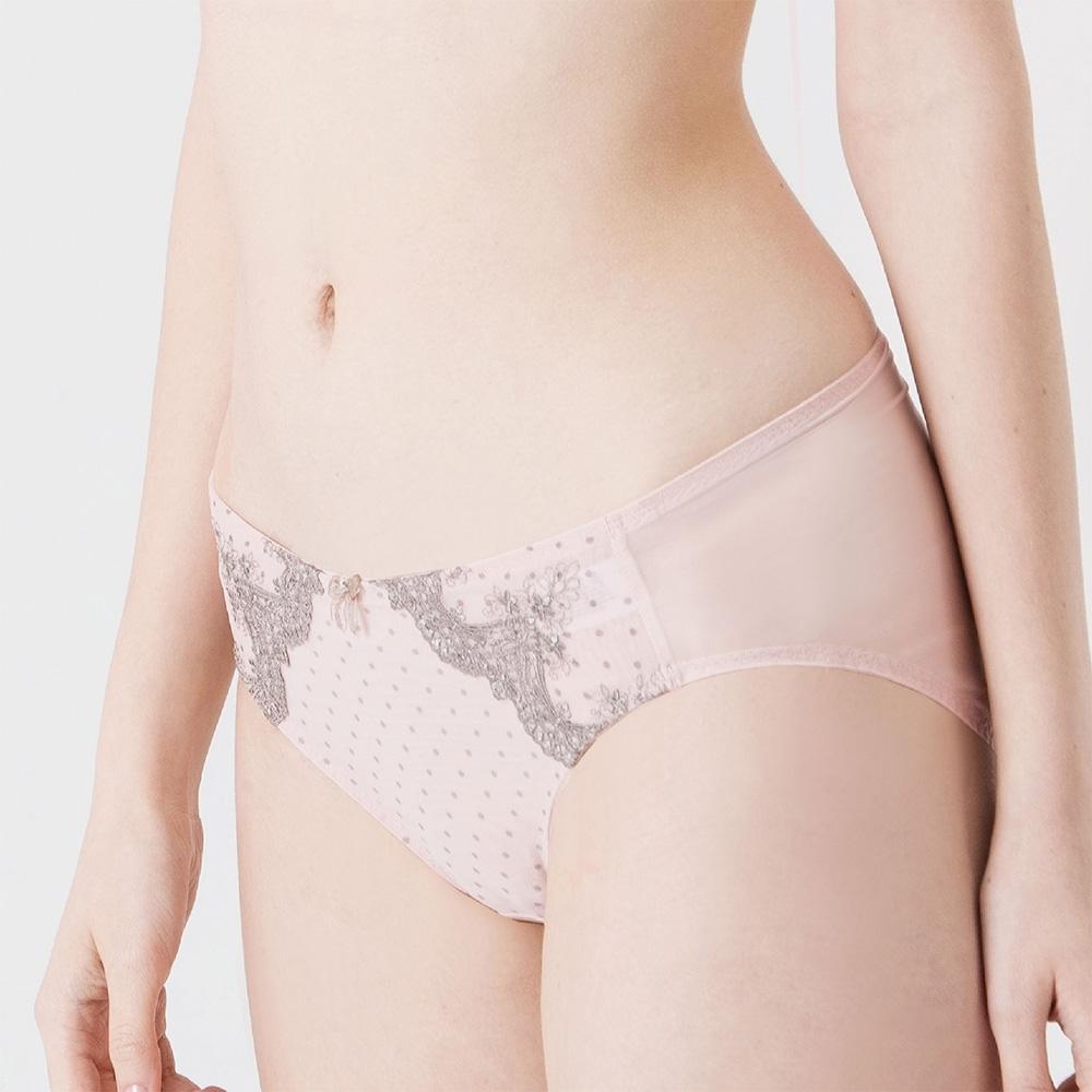 ohoh-mini 歐歐咪妮-《赫本の秘密》刺繡網紗孕婦低腰內褲-粉