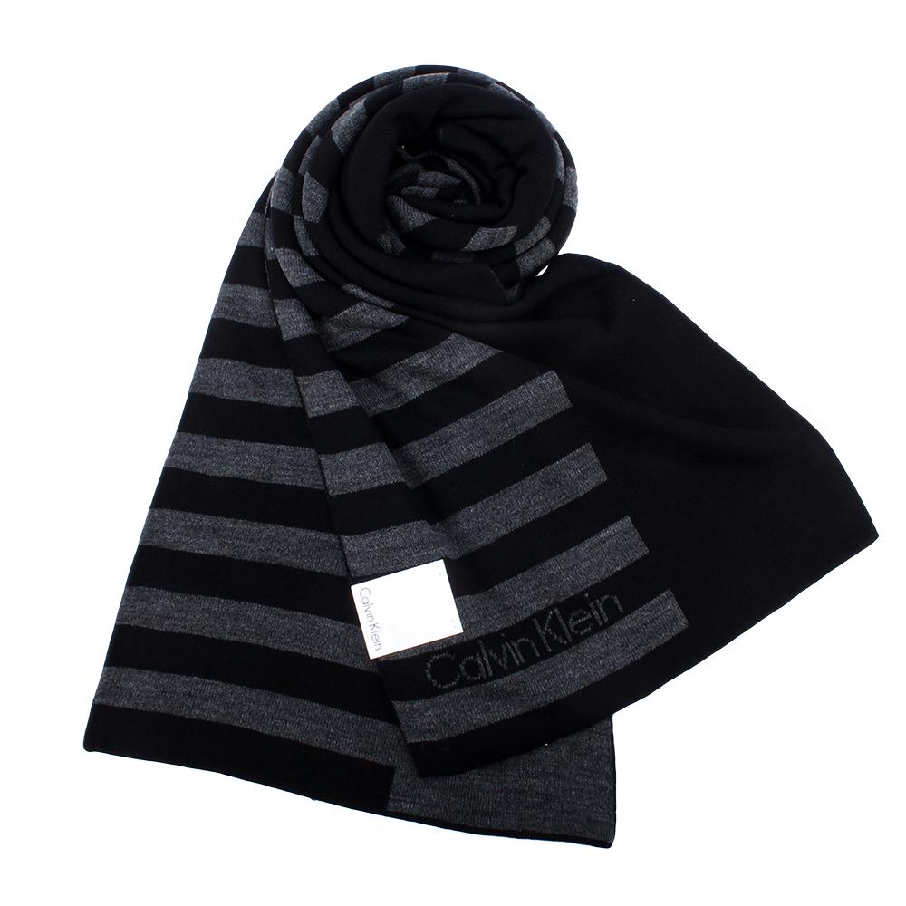 Calvin Klein CK 學院風格條紋針織圍巾-黑灰色 @ Y!購物