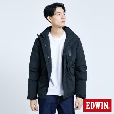 EDWIN EFS 機織連帽 鋪棉外套-男-黑色