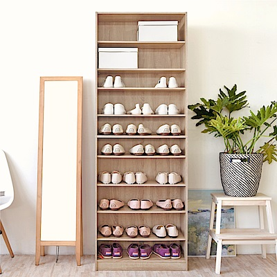 《HOPMA》DIY巧收開放式十層鞋櫃-寬60 x深28.5 x高180cm