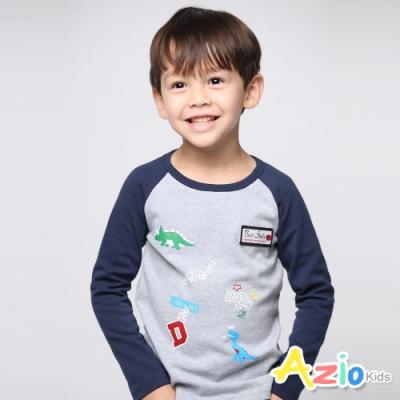 Azio Kids 男童 上衣 棒球袖恐龍徽章長袖上衣(灰)