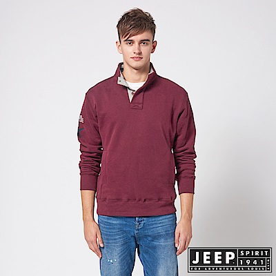 JEEP 簡約俐落休閒長袖TEE -紅色