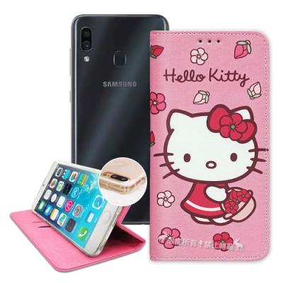 三麗鷗授權 Hello Kitty 三星 A20/A30共用款 櫻花吊繩款彩繪側掀皮套
