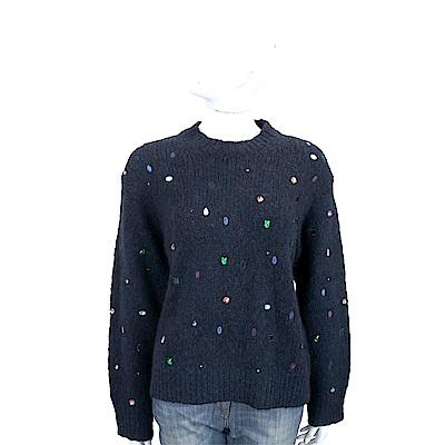 KENZO 彩色寶石鑽貼飾深藍色針織羊毛衫