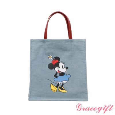 Disney collection by grace gift-迪士尼米妮圖案牛仔布方包 牛仔藍
