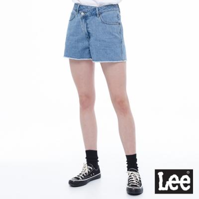 Lee 牛仔短褲 高腰腰頭設計寬版流蘇 女 淺藍