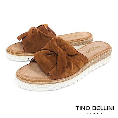 Tino Bellini 西班牙進口真皮典雅領結厚底涼拖鞋 _ 棕