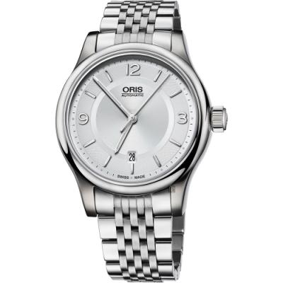 Oris 豪利時 Classic Date 都會時尚機械錶-銀/42mm 0173375944031