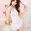 愛神邱比特 CB182 情趣内衣可愛白色中國風透明蕾絲柔纱旗袍睡袍 買就送跳蛋