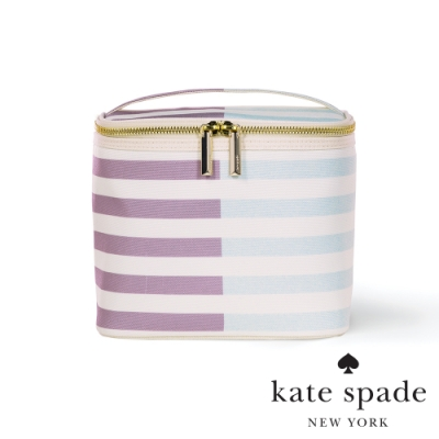 KATE SPADE 條紋撞色手提托特化妝包 Two-tone Stripes