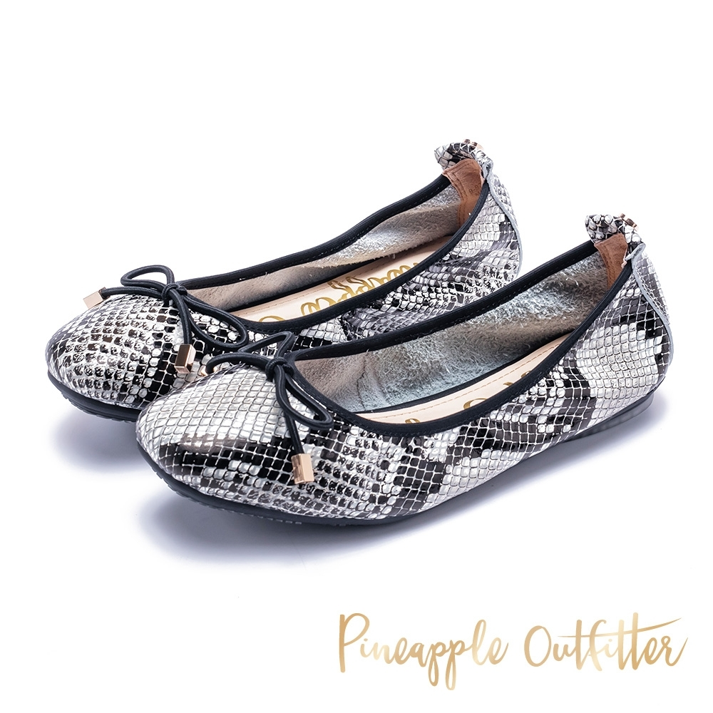 Pineapple Outfitter 完美芭蕾女伶 蛇紋娃娃鞋-白色