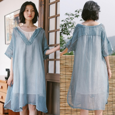 洋裝-亞麻輕薄透套裝兩件棉麻寬鬆背心裙-設計所在