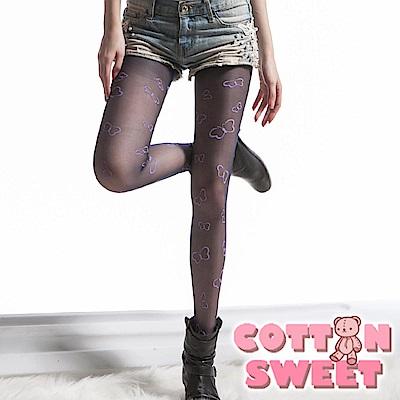 超薄紫蝴蝶印花黑色 連身絲襪 棉花甜