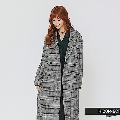 H:CONNECT 韓國品牌 女裝-復古格紋排扣西裝外套-卡其