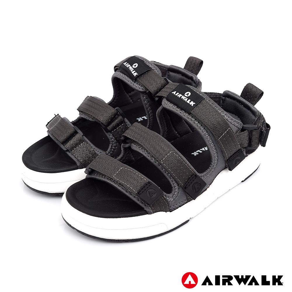 【AIRWALK】魔鬼氈增高二穿式涼鞋-灰色