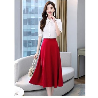 優雅造型衣領純色襯衫+修身A字裙套裝M-2XL(共五色)-SZ