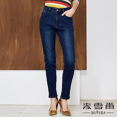 【麥雪爾】純棉刷絨彈性直筒牛仔褲