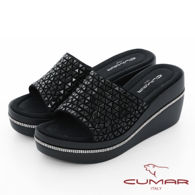 【CUMAR】情迷哈瓦那 - 三角排列鑽一片式厚底台拖涼鞋-黑