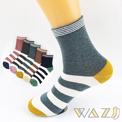 Wazi-撞色條紋棉質中筒襪 (1組五入)