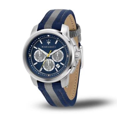 MASERATI 瑪莎拉蒂 ACTIVE POLO三眼日期計時尼龍腕錶45mm(R8871637001)