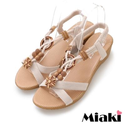 Miaki-涼鞋渡假風情楔型涼拖-米