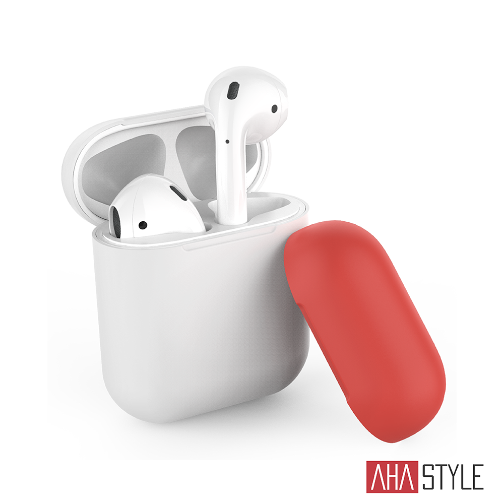 AHAStyle AirPods 1&2代 矽膠保護套 白色+紅色上蓋