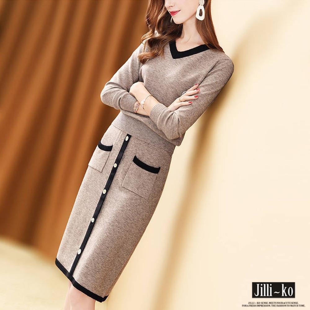 JILLI-KO 兩件套時尚質感針織套裝- 卡其