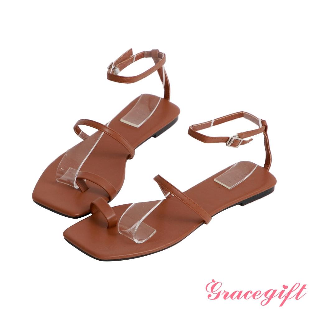 Grace gift-一字帶套趾繞踝平底涼鞋 棕