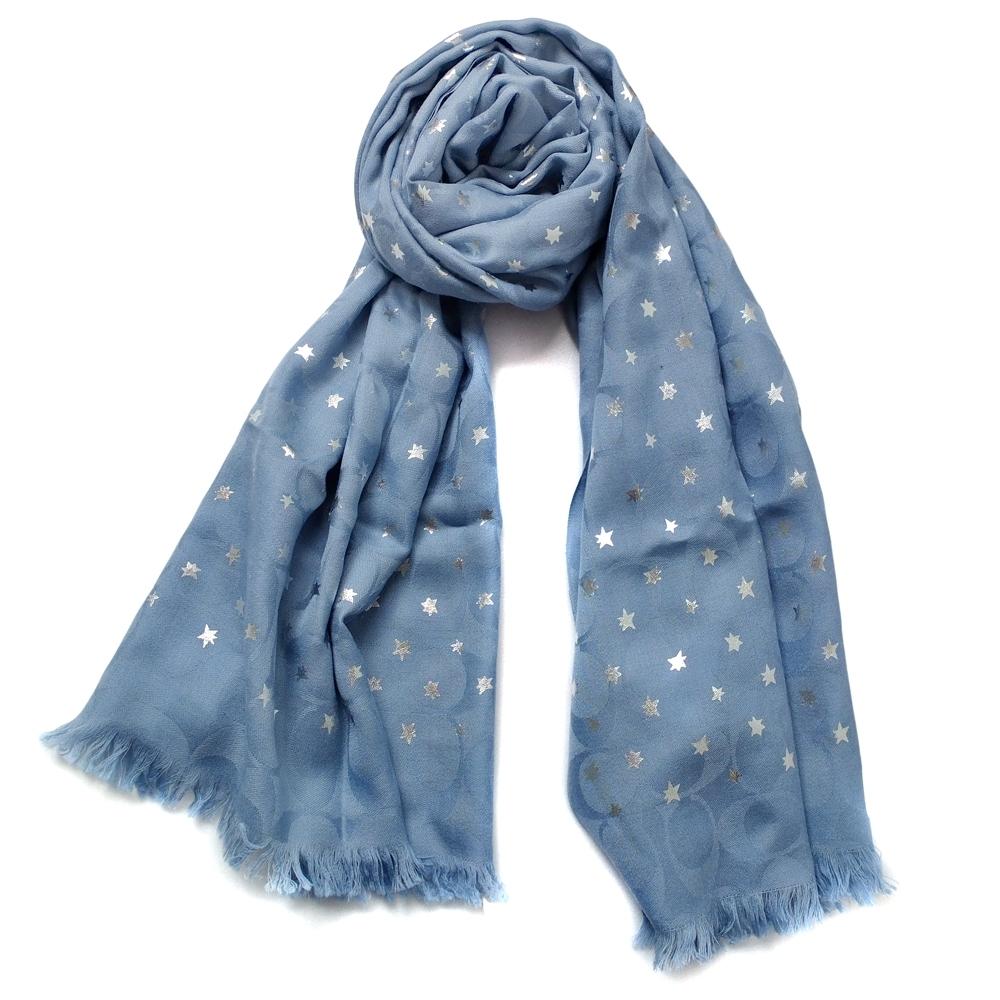 COACH天空藍C Logo滿天星羊毛薄圍巾(167x61cm)