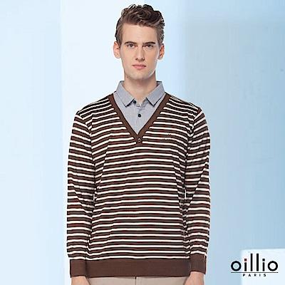 歐洲貴族oillio 長袖線衫 細膩線條 型男穿搭 咖啡色