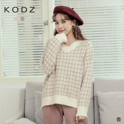 東京著衣-KODZ 可愛氛圍金蔥格紋V領針織毛衣(共二色)