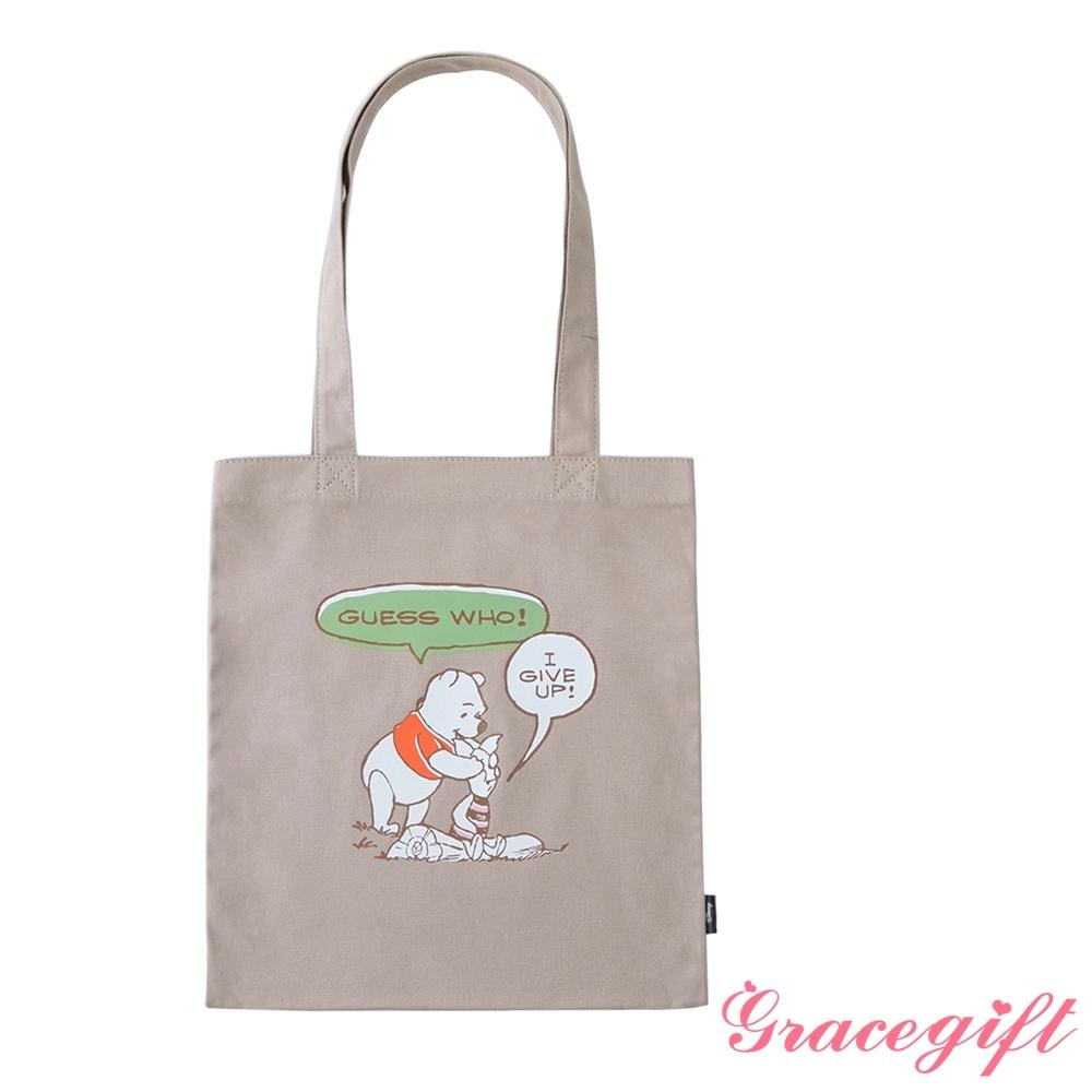 Disney collection by grace gift-迪士尼小熊維尼圖案帆布袋 卡其